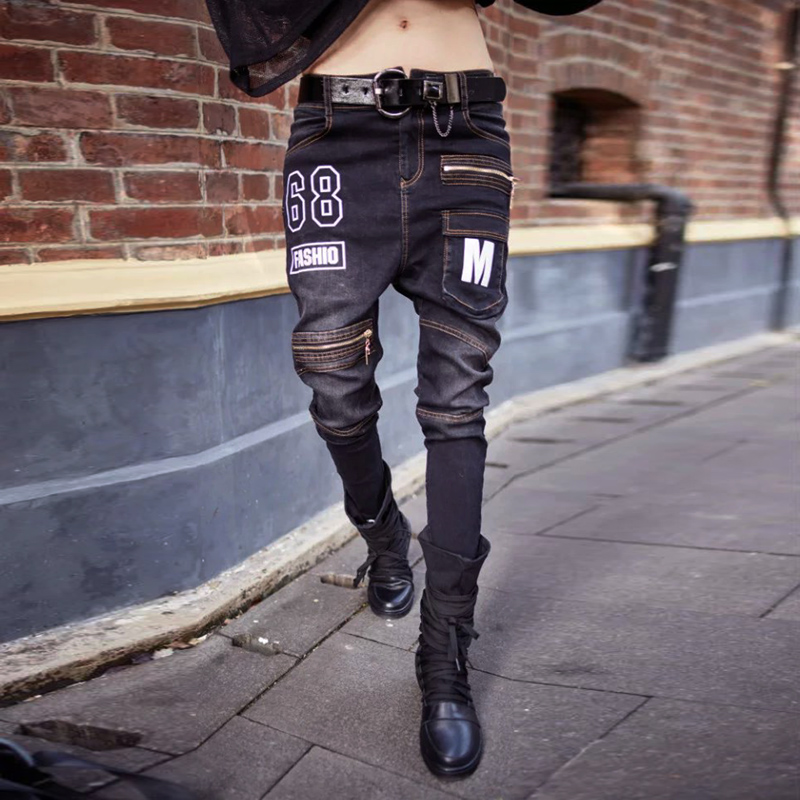 Fashion spring and autumn 2016 women's skinny pants jeans feminino cool black trousers zipper letter print denim harem pants mommy zone for pregnant woman denim bib pants jeans spring and autumn skinny pants and suspenders