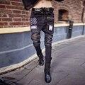 Moda primavera e no outono 2016 das mulheres calças skinny de jeans feminino legal calça preta com zíper carta impressão denim harem pants