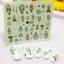 YZWLE 1 Sheet 6.5*5.2CM Net / Feathers Nail Art Water Decal Sticker Fashion  Tips Decoration A1265