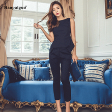 Plus Size 2 Piece Set Women Suit 2018 Summer Solid Sleeveless O-Neck OL Blouse Shirt Tops and Pants Crop Two