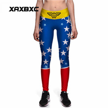 0083 Plus Size High Waist Silm Fitness Women Leggings Elastic Pants Trousers Sexy Girl Christmas Wonder Woman Star Prints