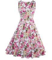 JOYINPARTY vintage 2017 vestidos de verano de la impresión floral 1950 s elegante patchwork vestido de fiesta sin mangas de lujo vestido de la vendimia