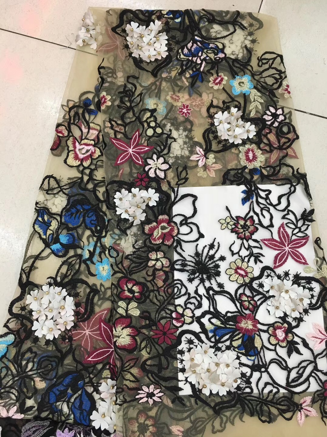 wedding lace fabric 3D flowers french African lace fabrics for dresses beads tulle lace Nigerian fabric RF25211