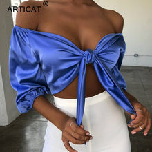 Articat Bow Tie Off Shoulder Sexy Crop Top Women Half Sleeve Lace Up Bandage Cropped Shirt Spring Slim Short Party Tank Top Tees(China)