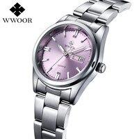 WWOOR Брендовые женские часы Роскошные модные повседневные кварцевые часы водостойкий светящийся браслет женские часы Relogio Feminino