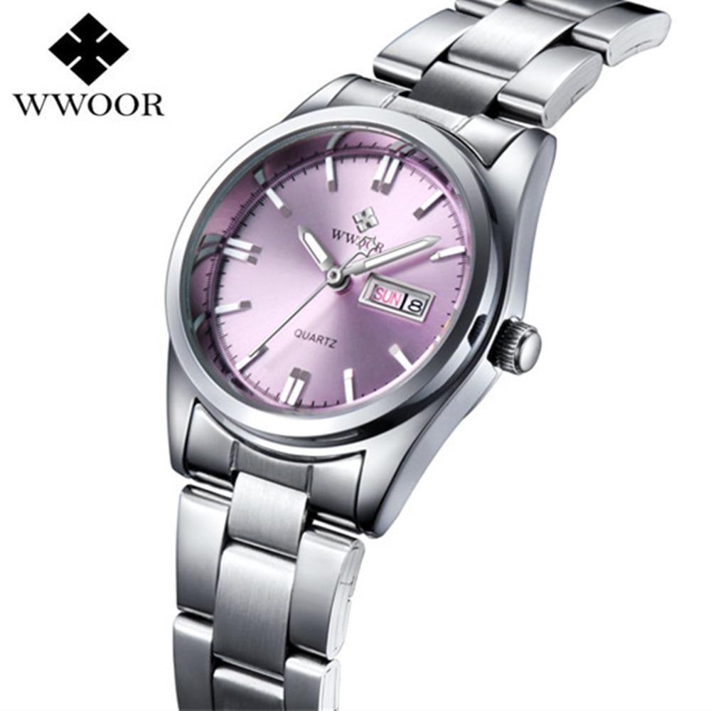 Wwoor brand ladies watch women luxury fashion casual quartz watch waterproof luminous bracelet for Watches brands for lady