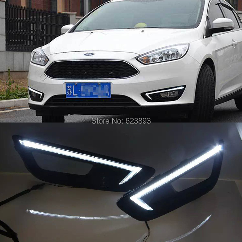 Car Styling For Ford Focus 2017 Super Bright White Led Drl Daytime Running Lights With Black Fog Lamp Cover