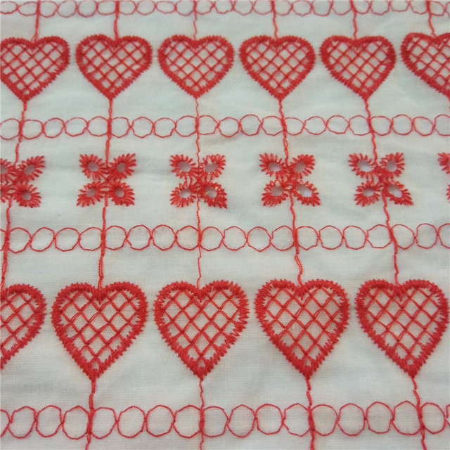 15 yard Rot gelb Baumwolle Stickerei Stoff Gestickt Liebenden Muster ...