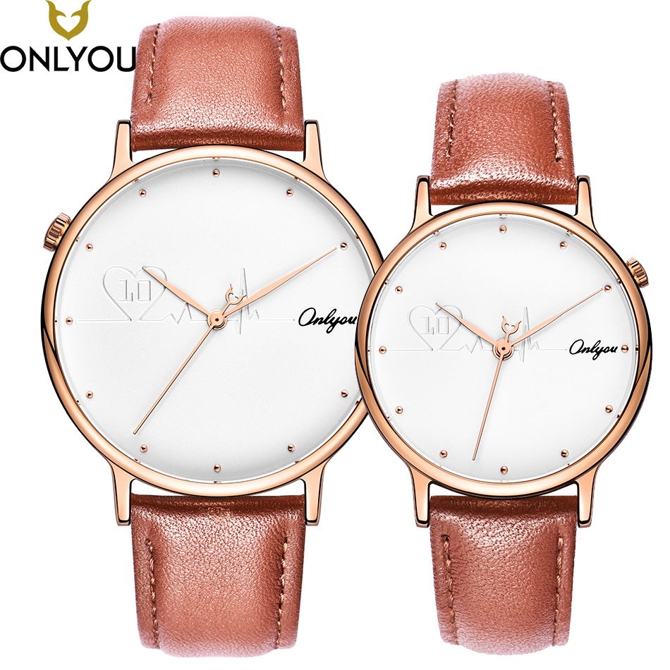 ONLYOU Lover Watches Top Brand Fashion Heartbeat Wristwatch Women Casual Quartz Clock Expressing Gift Men Sipmle Couple Watches onlyou lover watches couple fashion unique wristwatch chinese style valentine s day present gift women caual quartz clock