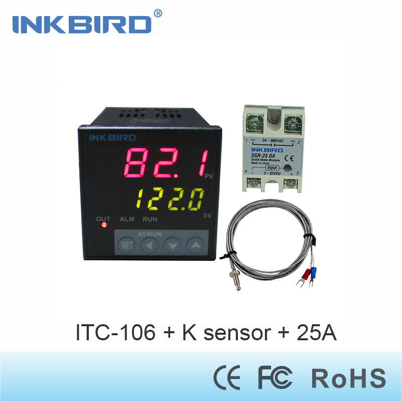 Inkbird AC 100 220V ITC 100VH Digital PID Thermostat Temperature Controller with DA 25A SSR and