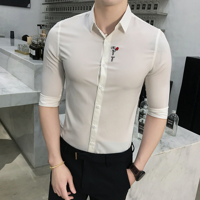 Brand New Tuxedo Shirt Summer Slim Fit Rose Flower Embroidery Dress Shirts Mens Half Sleeve Solid