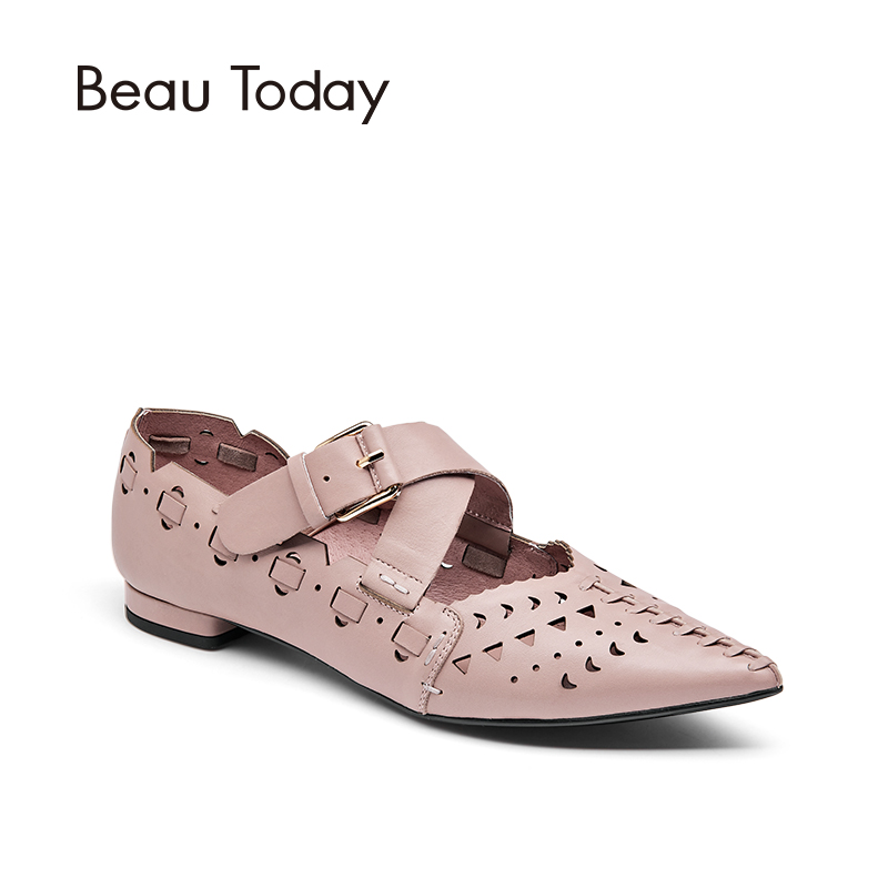 BeauToday Genuine Leather Pointed Toe Ballet Flats Women Spring Autumn Casual Low Heel Sandal Ladies Shoes 30026 brilliant genuine sheepskin leather flat heel single shoes 2016 spring summer square toe rhinestones black rose red ballet flats