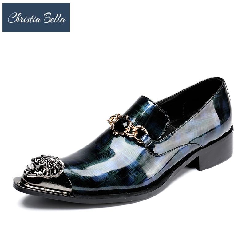 Vestir Elegante Patente 3 Puntiagudo Dedo Hierro Azul Para Los Cuero Baile Pie Zapato Oxford 6 1 Más Lujo Graduación 4 5 Formal Del Zapatos Hombres De 2 TPnx0wWq