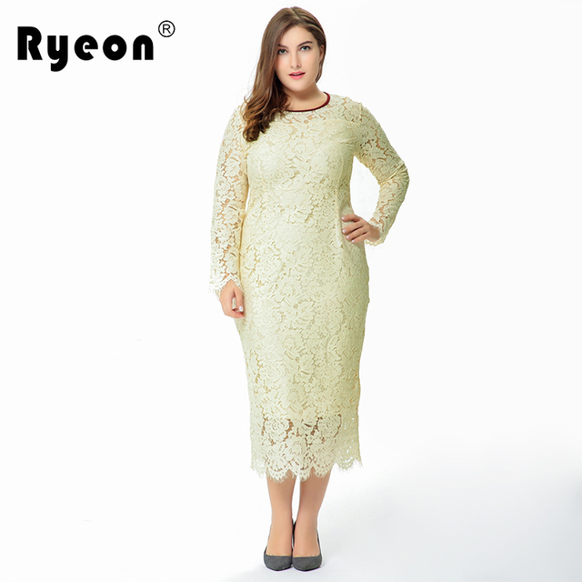 f1544a79354 Ryeon Autumn Winter Lace Maxi Dress Party Office Long Sexy Black Ivory Robe  Longue 6xl Plus Size Women Vintage Dresses 50s 60s