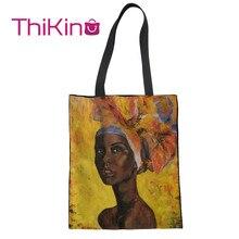 Thikin Oil African Black Girl Painting Canvas Bag Women Shopping Handbags Fashion Portable for  Bags Designer