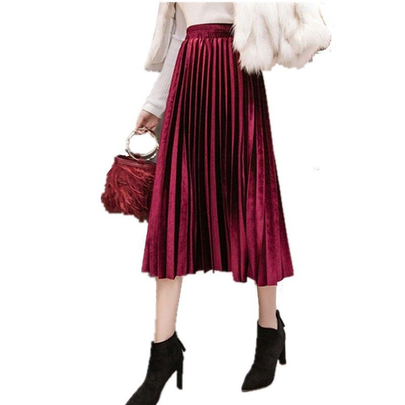 d103234639 2018 Autumn Winter Velvet Skirt High Waisted Skinny Large Swing Long  Pleated Skirts Metallic 18 Colors