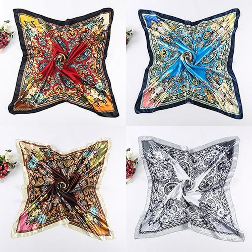 Womens Big Square Silk-Like Imitated Satin Scarf Flower Printing Wrap Shawl