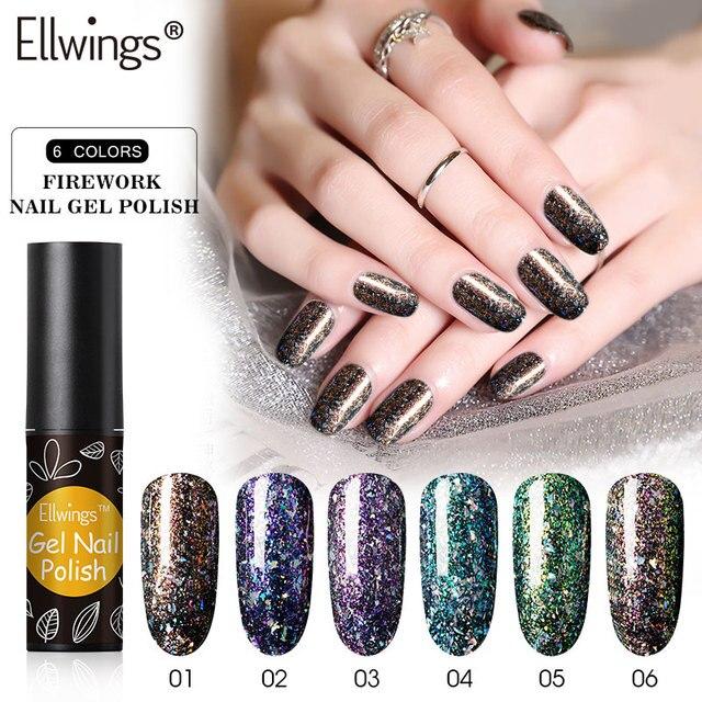 Ellwings Sparkly Sequins Gel Nail Polish Glitter Laser Chameleon ...