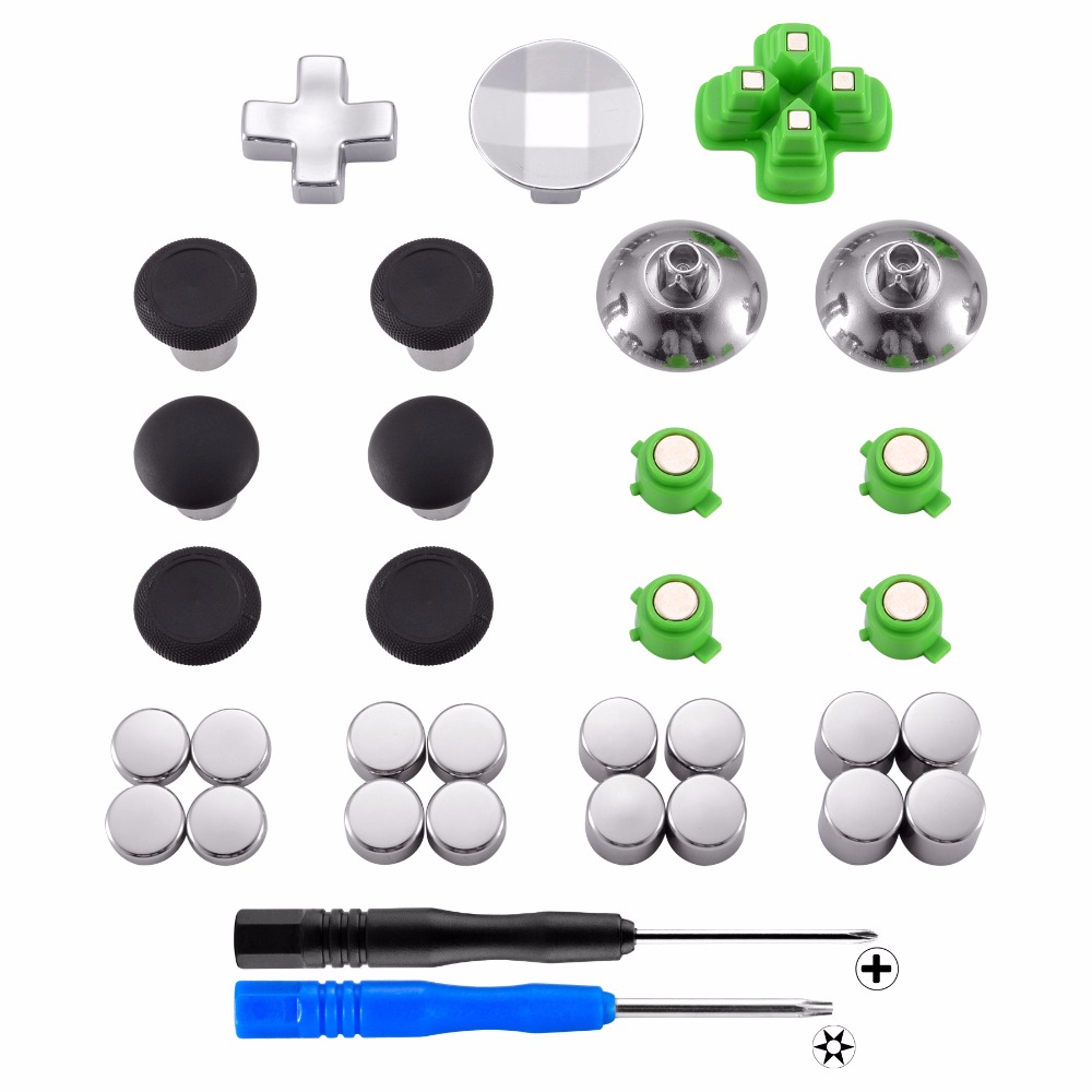 Magnetic Metal Bullet Buttons Dpads Aluminium Thumbstick Adustable Height Repair Parts for PS4 Controller all Models (31 in 1) ivy queen for sony playstation 4 ps4 ps3 controller alu aluminium bullet aktions buttons tasten gun triangle circle square x