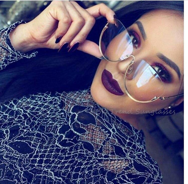 2017 rimless new cat eye wanita sunglasses mode transparan merek - Aksesori pakaian - Foto 2