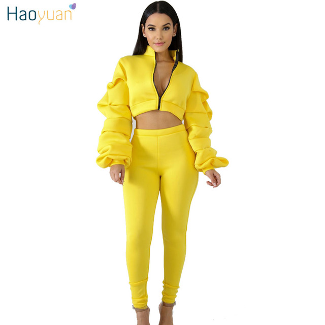 5caa83cf5331 HAOYUAN Autumn Winter Sweat Suits 2 Piece Set Women Long Sleeve Zip Crop  Tops and Bodycon Pants Casual Tracksuit Two Piece Sets