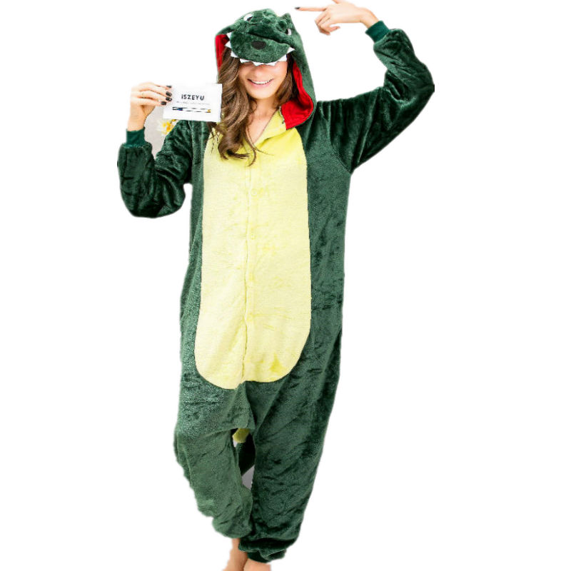 3c16b156635c Dragon Dino Animal Onesies Pajamas for Adults Sleepwear Cosplay Halloween  Costumes Onsie Women Green Sleepsuit Unisex