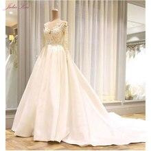 JULIA KUI V-Neck A-line Wedding Dress Full Sleeves Lustrous