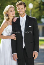Custom Made Two Buttons Black Groom Tuxedos Best Man Notch Lapel Groomsmen Men Wedding Suits Bridegroom (Jacket+Pants+Tie+Vest)