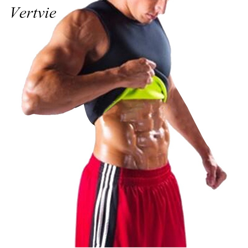 Vertvie Men Sauna Vest Sweat Shapers Shirt Fit Running Shirt Men Shaper Sports Vest Tee Slim Waist Trainer Corsets Shapewear