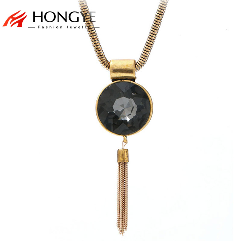 Fashion Design 2016 Big Simulated Gemstone Pendants Silver Plated Necklace T Show Long Chain Tassel Necklaces Bohemia Jewelry