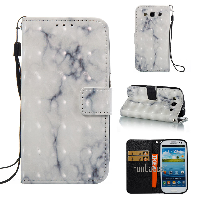 Case For Coque Samsung Galaxy S3 Marble Stone Granite PU Leather Cover For Samsung S3 SIII i9300i Case with Stand Card Holder
