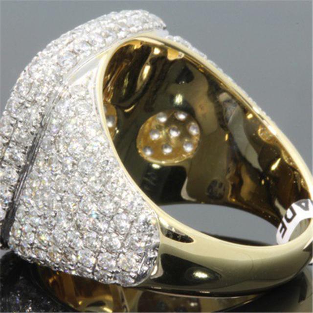 14K Gold Full Diamond Rings for Men Hip-hop Peridot Gemstone Anillos De Bizuteria Wedding Bague Sparkling diamond Jewelry Ring