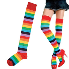 цена на European and American Trend Rainbow Stripes long Paragraph large Size long Tube Was Thin Over The Knee legs ladies Socks