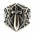 Europe Style Mens 316L stainless Steel Cool Sword Lion Silver Ring Guarantee 100%