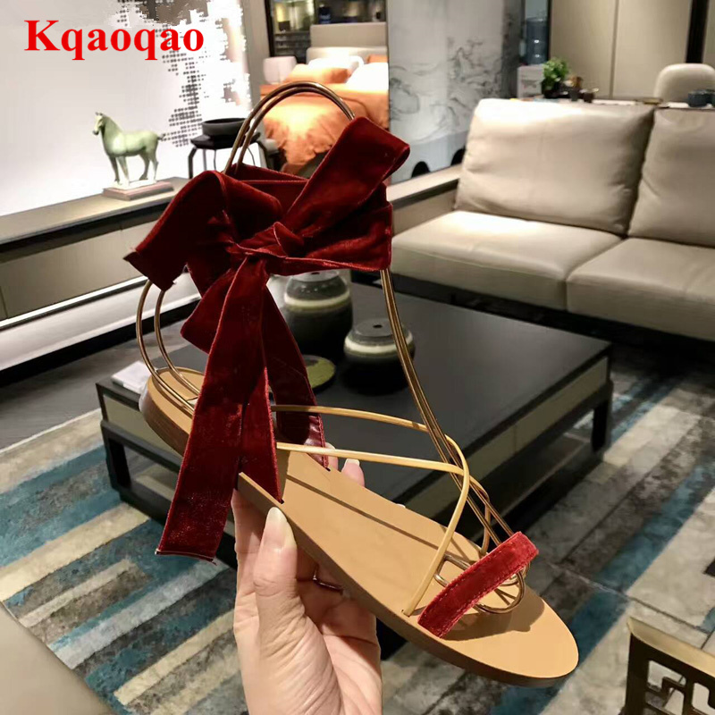Flock Lace Up Girl Women Sandals Open Toe Butterfly Knot Lady Shoes Flats Super Star Runway Shoes Luxury Brand Fashion Design yanicuding round toe women flock ankle booties metal short boots zip design luxury brand fashion runway star autumn shoes flats