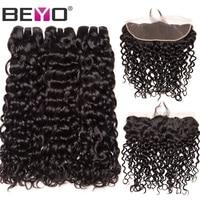 Beyo Water Wave 3 Bundles With Frontal Closure Brazilian Hair Weave Bundles Human Hair Lace Front