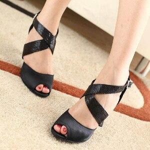 Image 4 - DILEECHI zapatos de baile latino para mujer, calzado con estampado de serpiente de satén negro, suela exterior blanda, zapatos de baile de salón, zapatos de Salsa de vals