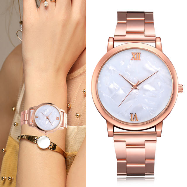 Lvpai Brand Women Watches Luxury Rose Gold Metal Band Bracelet Quartz Wrist Watc