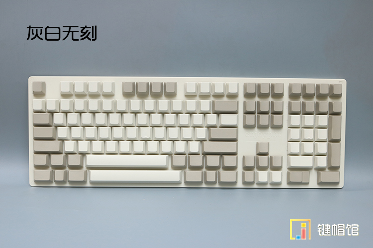 Enjoypbt Mechanical Keyboard Keycaps 121 Keycap Thick PBT Blank Print Cherry Height 104 Game Keyboard Keys Retro Gray White