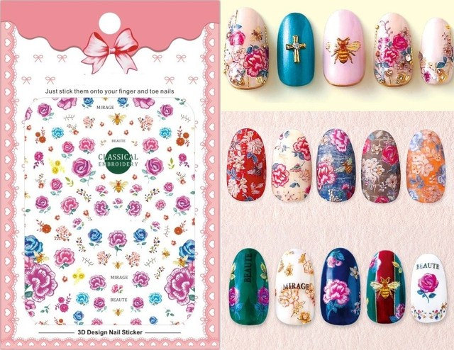 1 Sheet Embroidery Flower Bee 3d Nail Art Transfer Stickers Nail Art