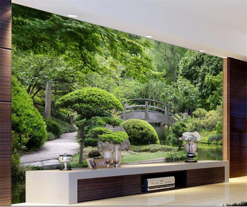 custom 3d photo wallpaper room mural Green garden landscape 3d photo ...