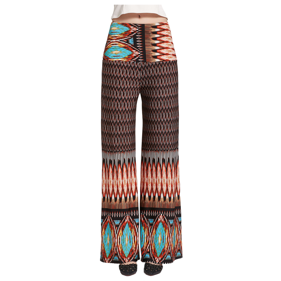 Women High Waist Loose Pants Palazzo Wide Leg Dance Pants Floral Printing Tribal Pattern Pants Bell Bottom Trousers
