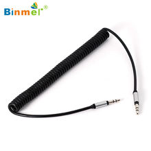 Binmer 2017 1pc 3.5mm zwinięty kabel Audio Stereo samochodu pomocniczy kabel Audio męski na męski Adapter USB Sep 12(China)