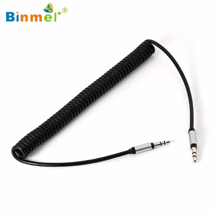 Binmer 2017 1pc  3.5 mm Coiled Stereo Audio Cable Car Auxiliary Audio Cable Male To Male USB Adapter Sep 12