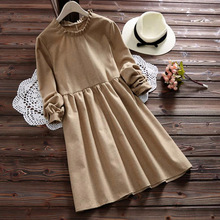 Autumn Casual Sweet Brief Ruffled Collar Sueding Dress Women's Mori Girl Full Sleeved Loose Solid Female Cotton Dresses V228