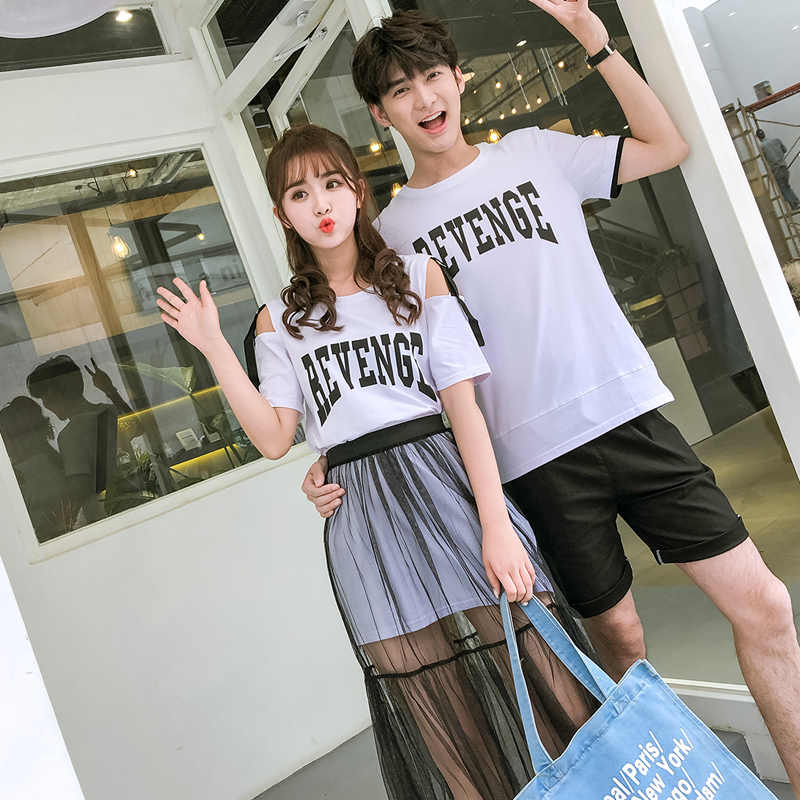 c3d5998fd129 ... Matching Couple Clothes Lovers Preppy Style Girls Summer Valentine s  Date Cute Sweet Letter Two Piece Sheer