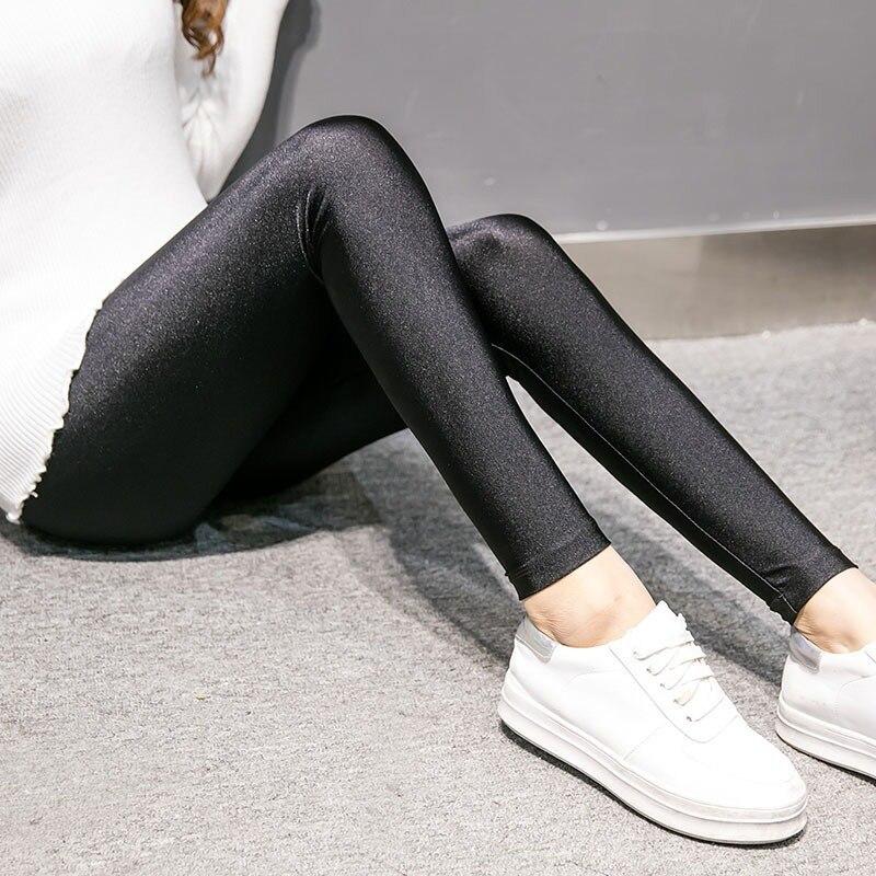 New Fashion Women Shiny Leggings Thin Full Ankle Length Black Leggings Stretchy High Waist Satin Basic Leggings