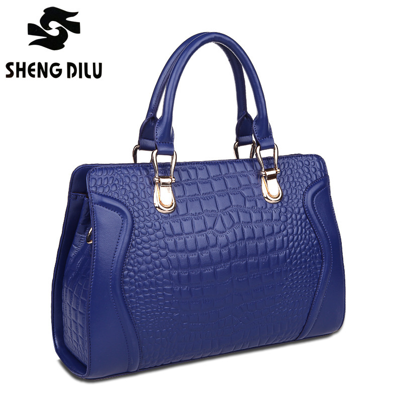 ФОТО ShengDiLu NEW HOT 2017 Women's Casual Handbags Genuine Leather Shoulder Bag Ladies designer bag Famous Brand Cow Leather 8942