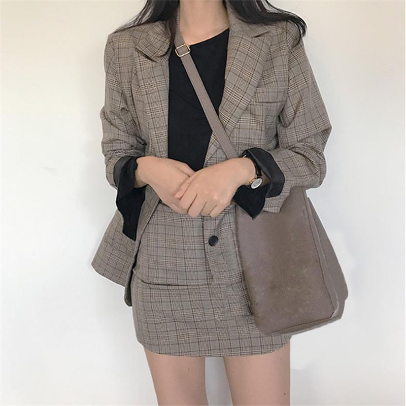 Hot Selling New 2019 Retro Fashion Lattice Stripes Long Suit Jacket Half Skirt Suit Ladies  Casual Suit + Skirt Two Piece Set  A