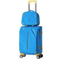 Al por mayor! 12 20 24 28 pulgadas de alta calidad suave tela Oxford trolley equipaje en las ruedas universales, corea Azul Rojo Bolsa